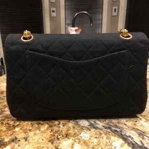 CHANEL Bags - Chanel Medium Double Classic Flap Jersey Black